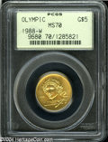 Modern Issues: , 1988-W G$5 Olympic Gold Five Dollar MS70 PCGS. Flawless ...