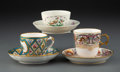 Ceramics & Porcelain, A Group of Three Continental Porcelain Tea Cups and Saucers, 19th century. Marks to Sèvres set: S 46, SEVRES 1846, (crow... (Total: 6 Items)