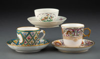 A Group of Three Continental Porcelain Tea Cups and Saucers, 19th century Marks to Sèvres set: S 46, SEVRES 184...