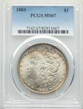 Morgan Dollars: , 1883 $1 MS67 PCGS. PCGS Population: (151/4). NGC Census: (129/6). CDN: $1,450 Whsle. Bid for NGC/PCGS MS67. Mintage 12,291,...