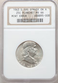 Errors, 1963-D 50C Franklin Half Dollar -- Struck on a Quarter Planchet -- MS66 NGC.. From The Mahal Collection, Part IV. ...