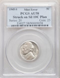 1945-S 5C Jefferson Nickel -- Struck on a Silver Dime Planchet -- AU58 PCGS. From The Mahal Collection, Part IV