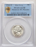 1944-D 5C Jefferson Nickel -- Struck on a Dime Planchet -- AU58 PCGS. From The Mahal Collection, Part IV