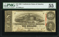 Confederate Notes:1863 Issues, T59 $10 1863 PF-11 Cr. 429 PMG About Uncirculated 55.. ...