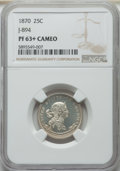 Patterns, 1870 25C Standard Silver Quarter, Judd-894, Pollock-1001, R.5, PR63+ Cameo NGC. NGC Census: (1/4 and 1/0+). PCGS Population...
