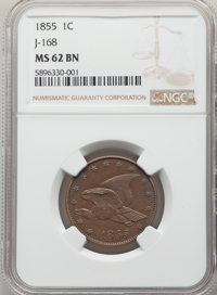 1855 P1C Flying Eagle Cent, Judd-168 Original, Pollock-193, R.4, MS62 Brown NGC. PCGS Population: (15/87). NGC Census: (...