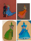 Animation Art:Production Cel, Sleeping Beauty Princess Aurora, Prince Phillip, Flora, Fauna, and Merryweather Production Cels Group of 4 (Walt Disne... (Total: 4 )