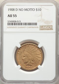 Indian Eagles, 1908-D $10 No Motto AU55 NGC. NGC Census: (89/954). PCGS Population: (178/982). CDN: $1,068.40.Whsle. Bid for NGC/PCGS AU55...