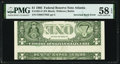 Error Notes:Inverted Reverses, Inverted Back Error Fr. 1921-F $1 1995 Federal Reserve Note. PMG Choice About Unc 58 EPQ.. ...