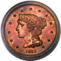 Patterns, 1863 3C Three Cents, Judd-319 Restrike, Pollock-384, R.5, PR65 Red PCGS....