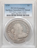 Early Dollars, 1797 $1 9x7 Stars, Large Letters -- Surfaces Smoothed -- PCGS Genuine. VF Details. Mintage 7,776....