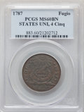 1787 CENT Fugio Cent, STATES UNITED, 4 Cinquefoils, Pointed Rays, MS60 Brown PCGS. PCGS Population: (14/416). NGC Census...