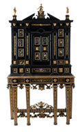 Furniture, An Italian Semi-Precious and Hardstone Inlaid Ebonized Cabinet on Stand with Gilt Bronze Mounts, 18th century and later. 97 ...