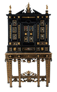 An Italian Semi-Precious and Hardstone Inlaid Ebonized Cabinet on Stand with Gilt Bronze Mounts, 18th century and lat