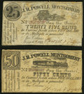 Obsoletes By State:Louisiana, New Orleans, LA- J. R. Powell, Montgomery, AL 25¢; 50¢ Jan. 15, 1862 Fine or Better.. ... (Total: 2 notes)