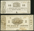 Obsoletes By State:Louisiana, Shreveport, LA- State of Louisiana 50¢; $1 Mar. 1, 1864 Very Fine or Better.. ... (Total: 2 notes)