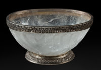 A Large Silver Mounted Rock Crystal Bowl 8-1/2 x 17-1/2 x 12-1/2 inches (21.6 x 44.5 x 31.8 cm)
