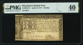 Colonial Notes:Maryland, Maryland April 10, 1774 $8 PMG Extremely Fine 40.. ...