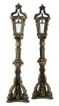 Furniture, A Pair of Venetian Renaissance-Style Carved, Painted and Partial Gilt Wood Floor Lanterns with Etched Glass Panels. 109 x 27... (Total: 2 Items)