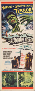 "Movie Posters:Horror, The Alligator People (20th Century Fox, 1959). Folded, Very Fine+. Insert (14"" X 36""). Horror.. ..."