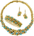 Estate Jewelry:Suites, Diamond, Turquoise, Platinum, Gold Jewelry Suite, French . ... (Total: 3 Items)