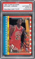 Autographs:Sports Cards, Signed 1987 Fleer Sticker Michael Jordan #2 PSA/DNA Mint 9....