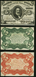 Fractional Currency:Third Issue, Fr. 1236SP/1238SP 5¢ Third Issue Narrow Margin Specimen Set of Three Choice About New.. ... (Total: 3 notes)