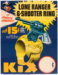 The Lone Ranger 6-Shooter Ring Kix Cereal Advertising Poster and Lone Ranger Pinback Button (General Mills, 1947).... (T...