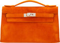 "Luxury Accessories:Bags, Hermès Orange H Veau Doblis Suede Kelly Pochette Bag with Palladium Hardware. J Square, 2006. Condition: 2. 8.5"" W..."