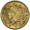 California Fractional Gold , Undated 25C Liberty Round 25 Cents, BG-222, R.2, MS64 PCGS. PCGS Population: (103/20). NGC Census: (33/24). ...