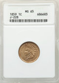 Patterns: , 1859 P1C Indian Cent, Judd-228, Pollock-272, R.1, MS65 ANACS. ...