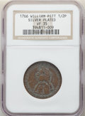 1766 1/2 P Pitt Halfpenny, Silvered VF35 NGC. NGC Census: (1/2). PCGS Population: (2/6)....(PCGS# 239)