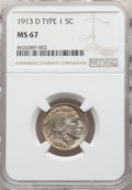 Buffalo Nickels, 1913-D 5C Type One MS67 NGC. NGC Census: (30/1). PCGS Population: (85/3). CDN: $1,300 Whsle. Bid for NGC/PCGS MS67. Mintage...