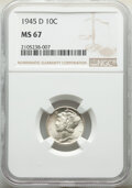Mercury Dimes, 1945-D 10C MS67 NGC. This lot also includes a: 1945-S 10C Micro S MS64 NGC. ... (Total: 2 coins)