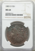 "Morgan Dollars, (2)1883-O $1 MS64 NGC. The current Coin Dealer Newsletter (Greysheet) wholesale ""bid"" price is $60.00.... (Total: 2 coins)"