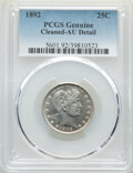 Barber Quarters, 1892 25C -- Cleaning -- PCGS Genuine. AU Details. This lot will also include a: 1909 25C -- Cleaning -- PCGS Genu... (Total: 2 coins)