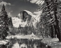 Photographs, Ansel Adams (American, 1902-1984). Half Dome, Merced River, Winter, Yosemite National Park, California, circa 1938. Gela...