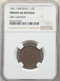 Proof Half Cents, 1841 1/2 C Original, B-1, R.5 -- Obv Graffiti -- NGC Details. Proof, AU. Mintage 24....