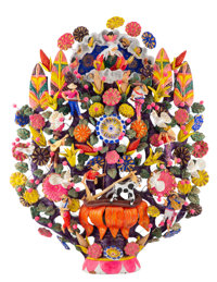 Tiburcio Soteno (Mexican, 20th Century) Tree of Life Modeled and painted clay 37 inches (94.0 cm)