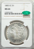 Morgan Dollars: , 1883-CC $1 MS64 NGC. CAC. NGC Census: (8794/5621). PCGS Population: (17555/11917). CDN: $230 Whsle. Bid for NGC/PCGS MS64. ...