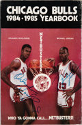 Basketball Collectibles:Publications, 1984-85 Michael Jordan & Orlando Woolridge Signed Chicago Bulls Media Guide. ...