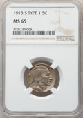 Buffalo Nickels, 1913-S 5C Type One MS65 NGC. NGC Census: (226/83). PCGS Population: (424/260). CDN: $675 Whsle. Bid for NGC/PCGS MS65. Mint...