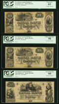 Obsoletes By State:Louisiana, New Orleans, LA- Canal Bank 18__ Remainders PCGS Graded.. $10 Choice New 63;. $10 Choice About New 58;. $50 Ve... (Total: 3 notes)
