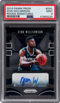 Basketball Cards:Singles (1980-Now), 2019 Panini Prizm Zion Williamson (Rookie Signatures) #ZWL PSA Mint 9. ...