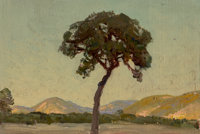 Julian Onderdonk (American, 1882-1922) Late Afternoon Williams Ranch, 1915 Oil on canvas 5-1/2 x