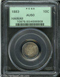 Coins of Hawaii: , 1883 10C Hawaii Ten Cents AU50 PCGS. Just a trace of wear ...