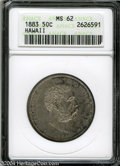 Coins of Hawaii: , 1883 50C Hawaii Half Dollar MS62 ANACS. This is a ...
