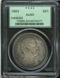 Coins of Hawaii: , 1883 $1 Hawaii Dollar AU50 PCGS. This is a lovely Akahi ...