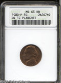Errors: , 1980-P 5C Jefferson Nickel--Struck on a Cent Planchet--MS63 ...