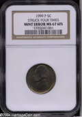 Errors: , 1999-P 5C Jefferson Nickel--Struck Four Times--MS67 Full ...